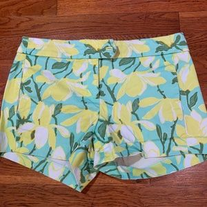 "J.Crew-Green and Yellow Floral Print 4"" Shorts-0"